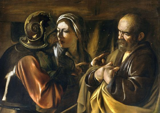 Caravaggio, Michelangelo Merisi da: The Denial of Saint Peter. Fine Art Print/Poster. Sizes: A4/A3/A2/A1 (002072)